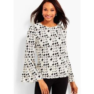 Talbots | Flounce Painted Houndstooth Blouse 2X